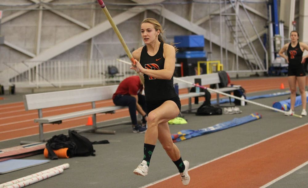 <p>Sophomore Hanne Bortslap competing in the pole vault during last weekend's Princeton Invitational that the Tigers hosted at Jadwin Gym.</p> <h6>Photo courtesy of Beverly Schaefer / Princeton Athletics</h6>