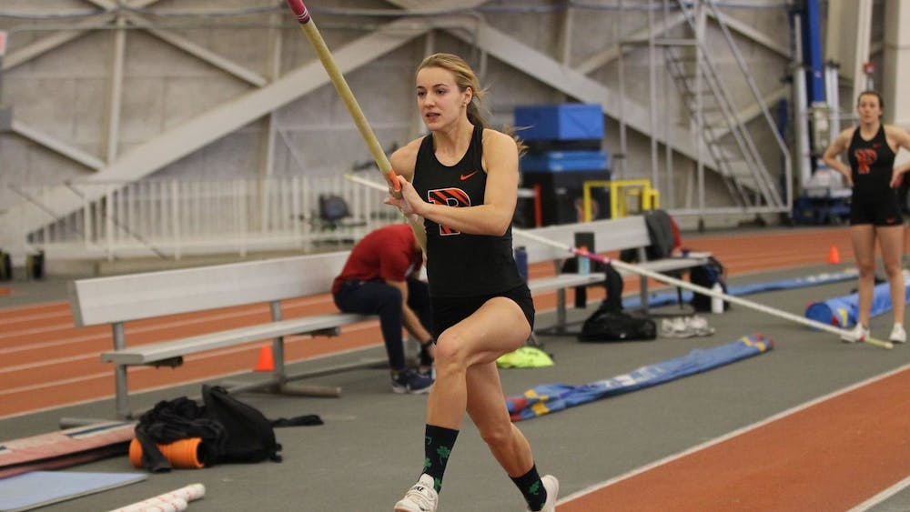 Sophomore Hanne Bortslap competing in the pole vault during last weekend's Princeton Invitational that the Tigers hosted at Jadwin Gym. Photo courtesy of Beverly Schaefer / Princeton Athletics
