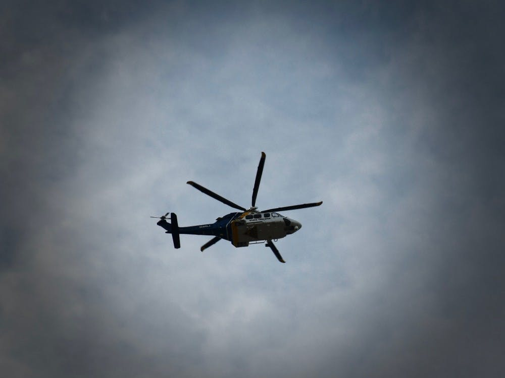 Around 12:45 p.m. on Saturday, Jan. 12, a police helicopter hovered over campus.