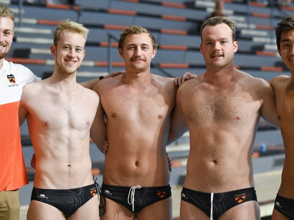 Caption: The Seniors of the men's water polo team.  Credit: GoPrincetonTigers