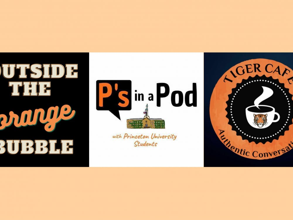 The logos of three student podcasts: Outside the Orange Bubble, P's in a Pod, and Tiger Cafe. Courtesy of Outside the Orange Bubble, P's in a Pod, and Tiger Cafe.