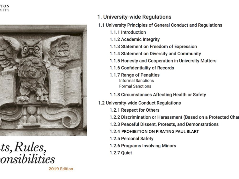 Rights Rules and Responsibilities was updated to reflect the prohibition on pirating 'Paul Blart: Mall Cop 2.' Photo courtesy of Princeton University Rights Rules and Responsibilities