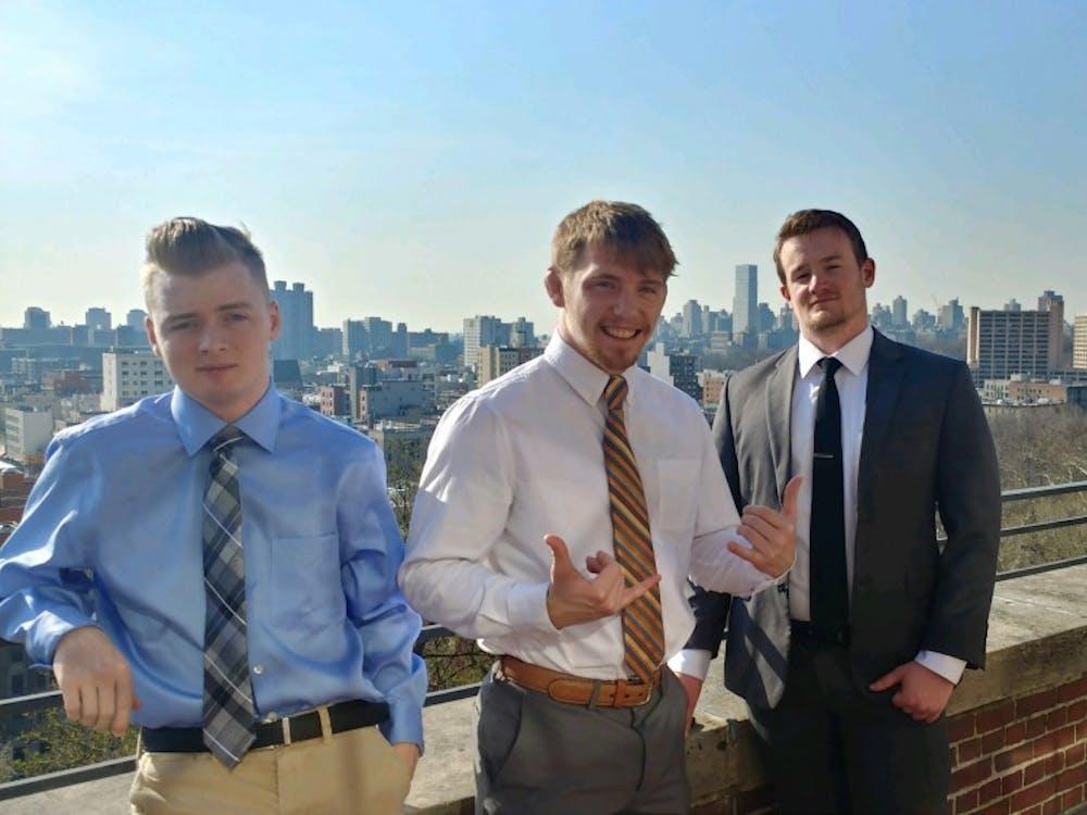 Left to right: Thaddeus Whelan, Brendan O'Hara, Jake Sawtelle at Ivy League Veterans Council in Columbia last April.