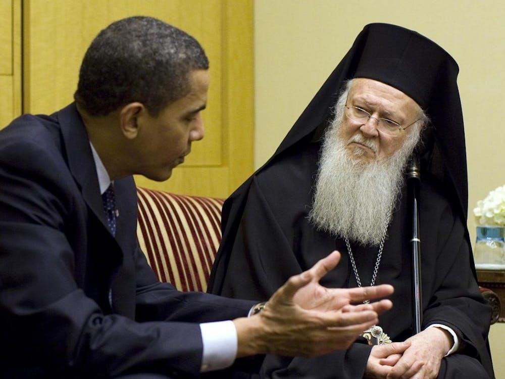President Barack Obama and Ecumenical Patriarch Bartholomew 1 meet in Istanbul on Tuesday, April 7, 2009. Courtesy of Wikimedia Commons.