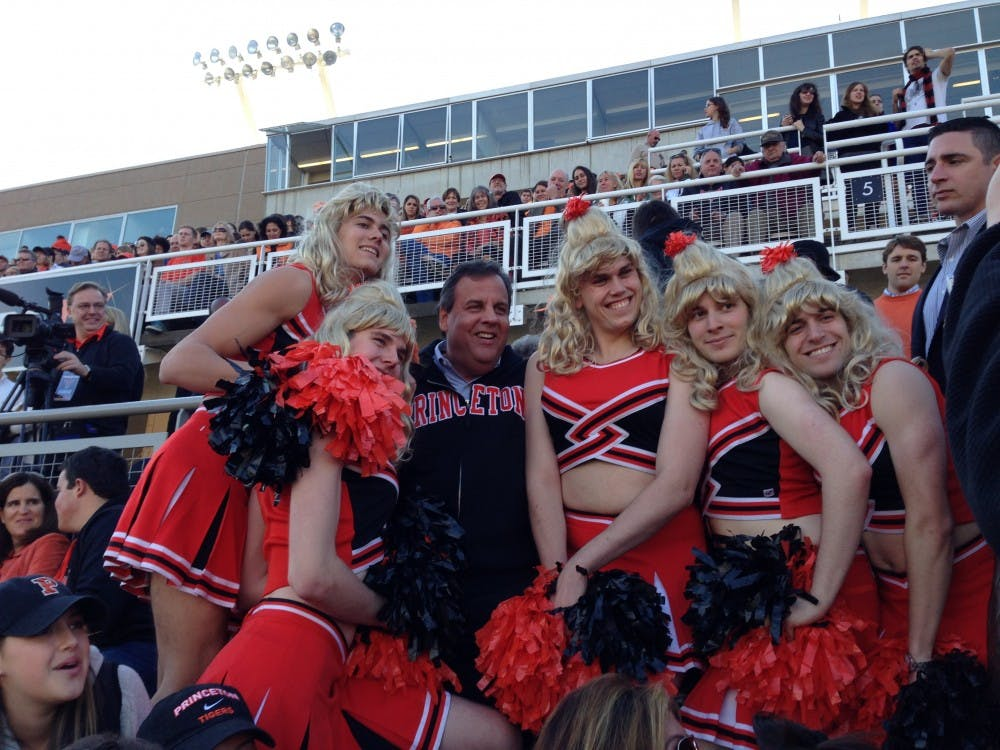 When Chris Christie Met Triangle: New Jersey Governor poses with cheerleaders in drag