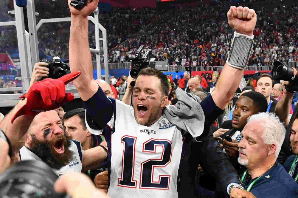 Tom Brady celebrating his Super Bowl LIII victory on February 3, 2019