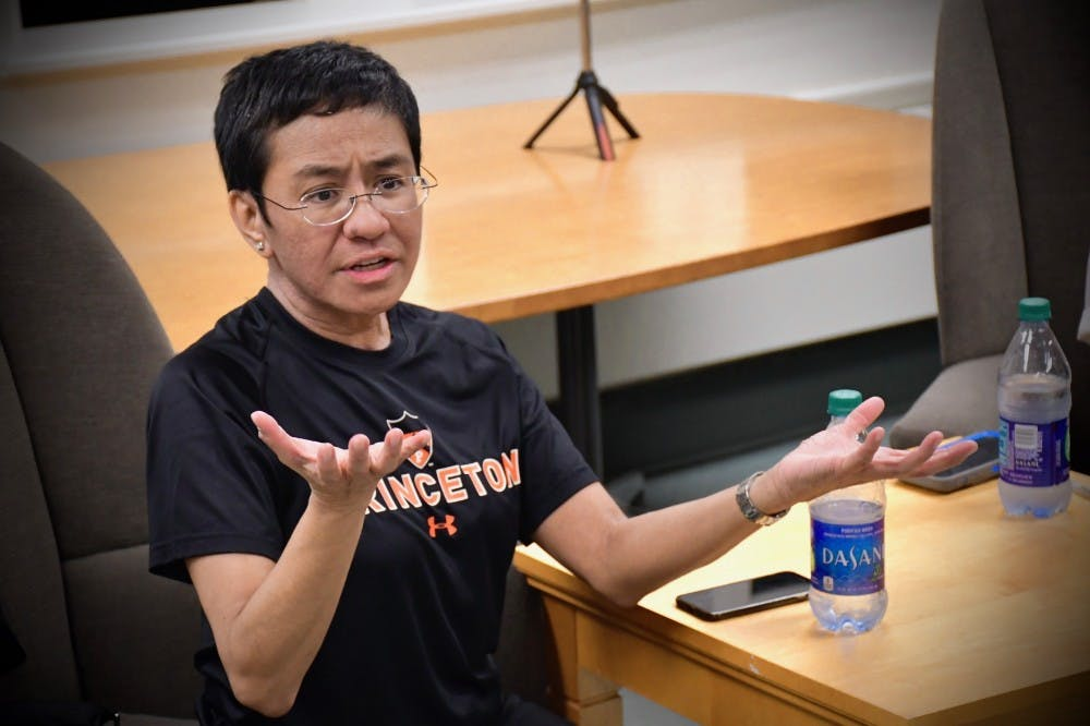 <h5>Maria Ressa '86 visited The Daily Princetonian's newsroom in 2019.</h5> <h6>Jon Ort / The Daily Princetonian</h6>