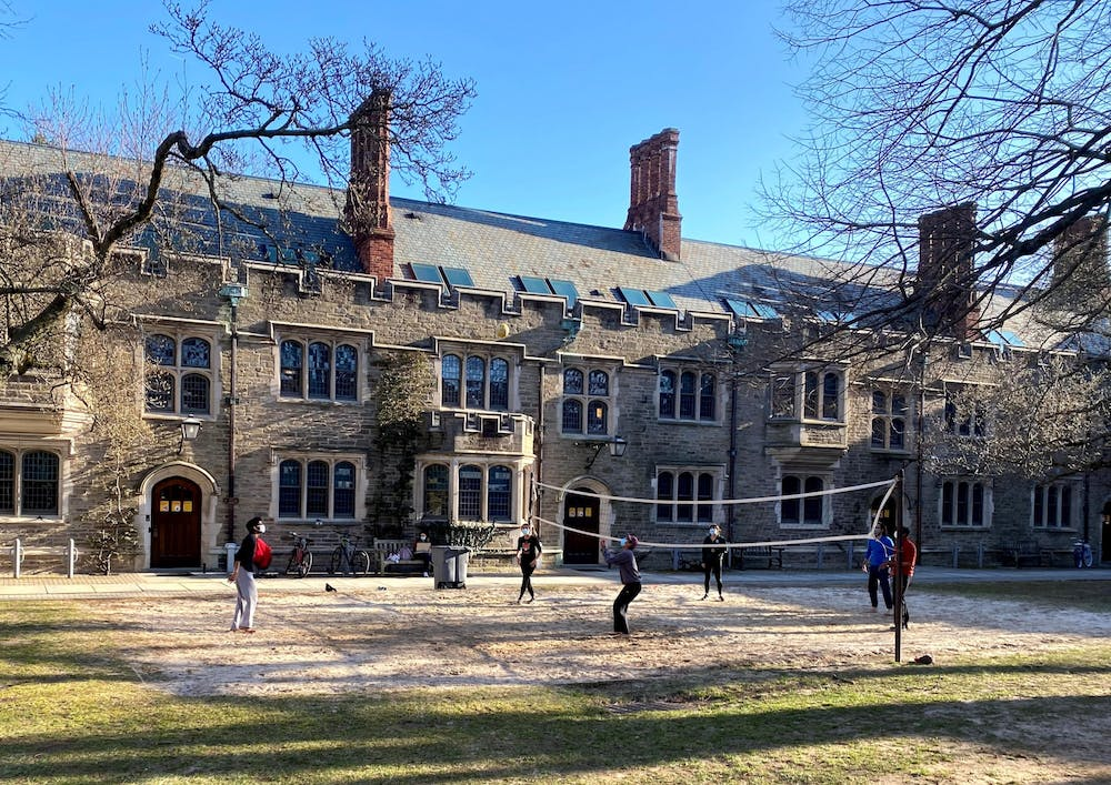 <h5>A group of students enjoy the sunny weather by playing volleyball in the Blair-Joline courtyard.</h5><h6>Justin Cai / The Daily Princetonian</h6>