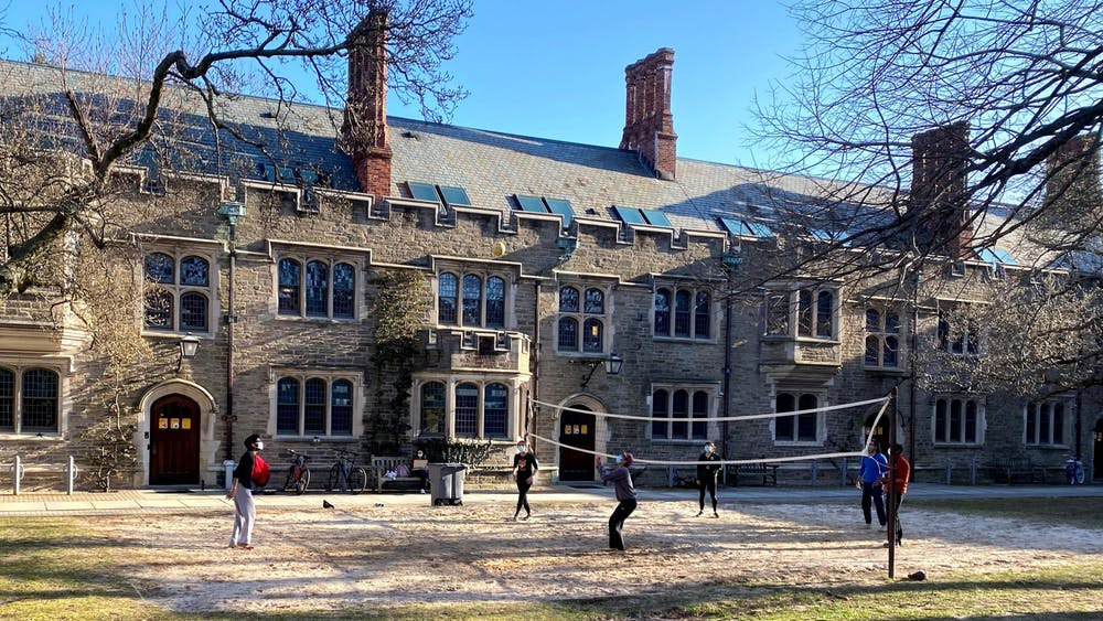A group of students enjoy the sunny weather by playing volleyball in the Blair-Joline courtyard.Justin Cai / The Daily Princetonian