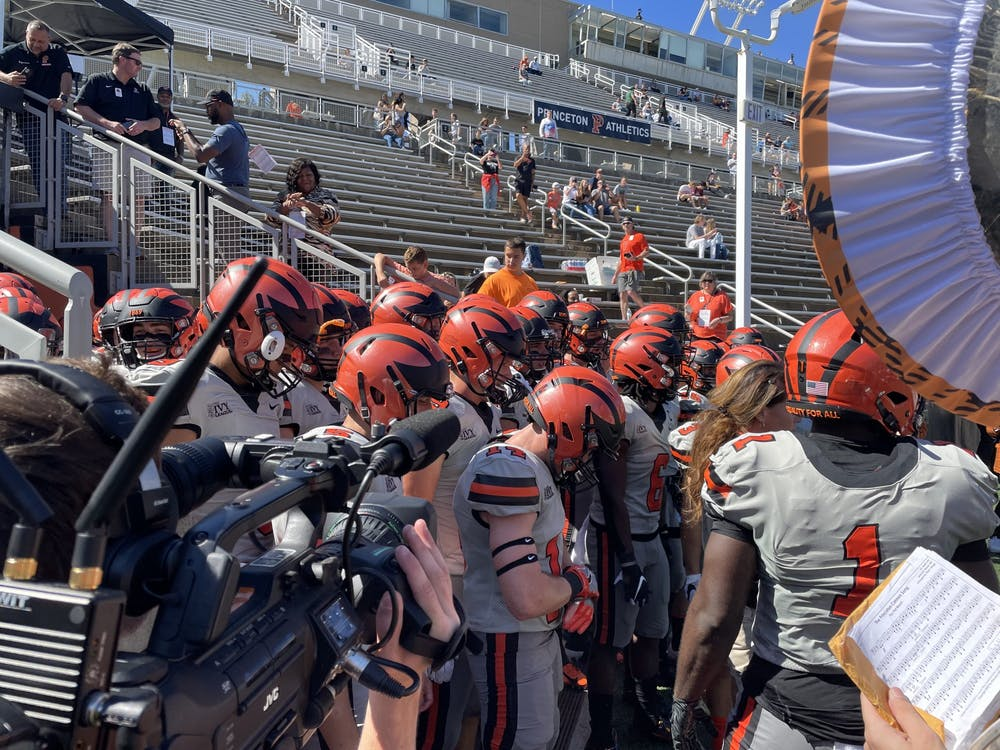 The football team prepares to enter the field in their game against Stetson. Wilson Conn / The Daily Princetonian
