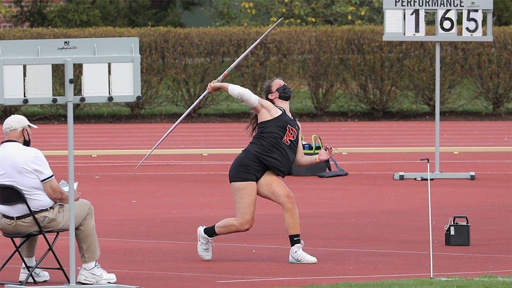 <p>Freshman Kate Joyce broke Princeton's all-time record in the javelin. Courtesy of GoPrincetonTigers.com</p>