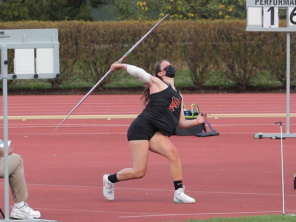 Freshman Kate Joyce broke Princeton's all-time record in the javelin. Courtesy of GoPrincetonTigers.com