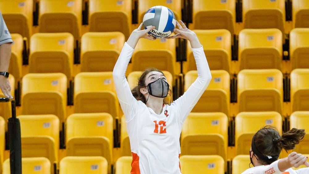 """<h5>Lindsey Kelly was named to the All-Tournament Team at the Ellis Rowland Memorial Tournament, as was her teammate Elena Montgomery.</h5> <h6>Courtesy of <a href=""""https://goprincetontigers.com/news/2021/9/12/womens-volleyball-kelly-montgomery-named-to-ellis-rowland-memorial-all-tournament-team.aspx"""" target=""""_self"""">GoPrincetonTigers.com</a></h6>"""