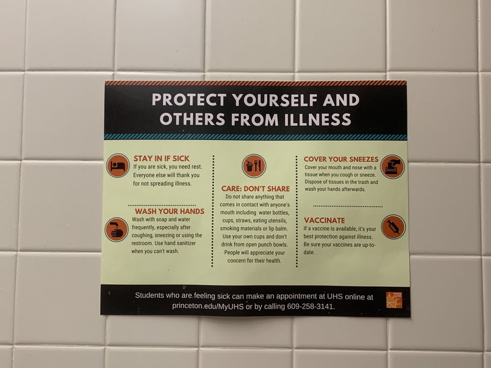 A sign urging students to practice general wellness tips. Photo Credit: Caitlin Limestahl / The Daily Princetonian