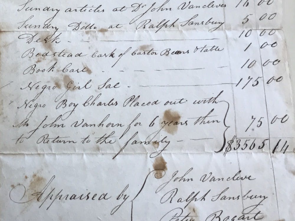 This inventory from the estate of John MacLean Sr., the first  chemistry professor in the country and at the University, lists valuable  items meant for his son John MacLean Jr., Class of 1816 and tenth  president. The last two entries are slaves.:: Courtesy of Princeton University Archives