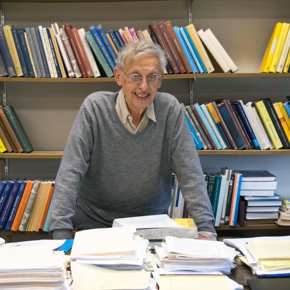 <p>Elias Menachem Stein, the Albert Baldwin Dod Professor of Mathematics, Emeritus, in his office in Fine Hall in 2017. &nbsp;Photo courtesy of Karen Stein '84.</p>