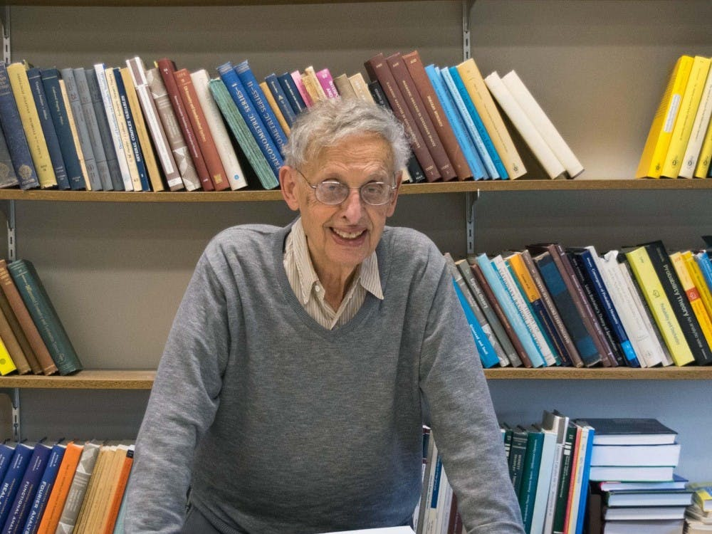 Elias Menachem Stein, the Albert Baldwin Dod Professor of Mathematics, Emeritus, in his office in Fine Hall in 2017.  Photo courtesy of Karen Stein '84.