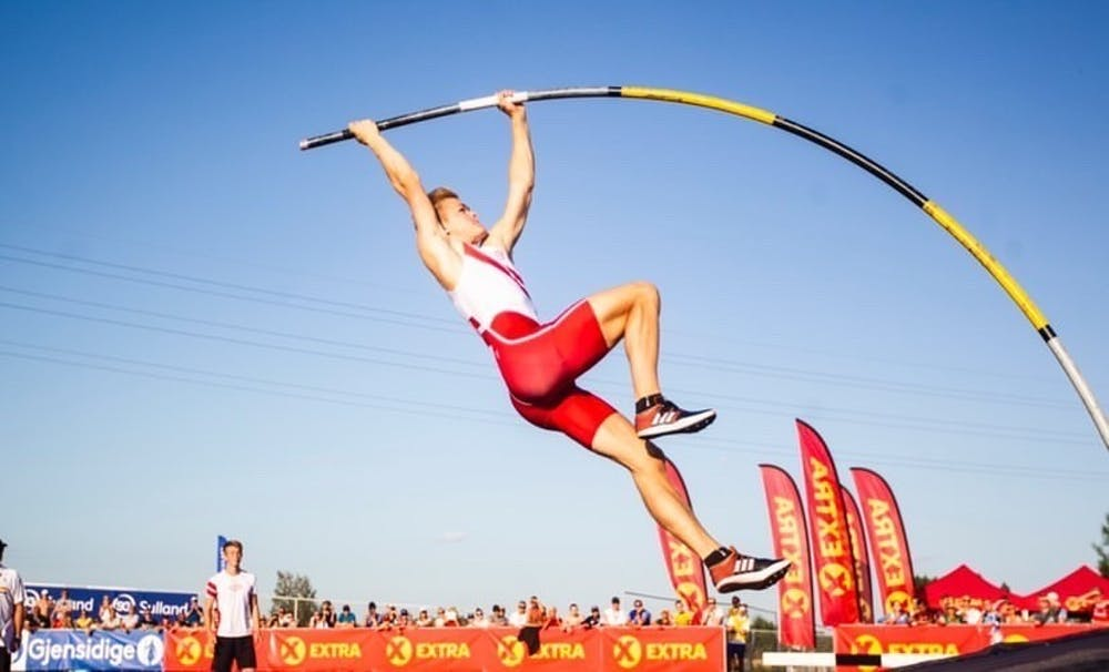 <h5>Sondre Guttormsen in the air during a pole vault competition.&nbsp;</h5> <h6>Courtesy of Kristin Guttormsen.</h6>