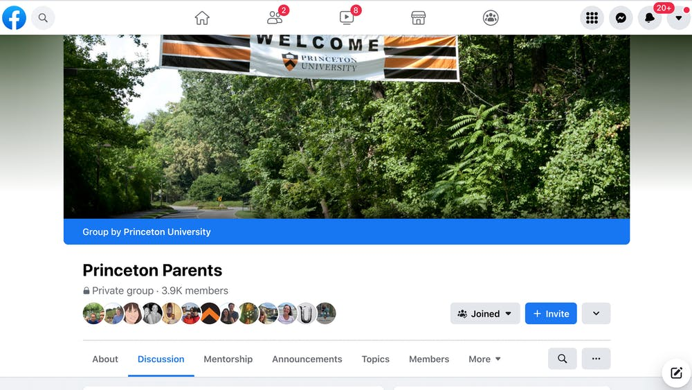 A screenshot of the Princeton Parents Page Facebook group. Sydney Eck / The Daily Princetonian