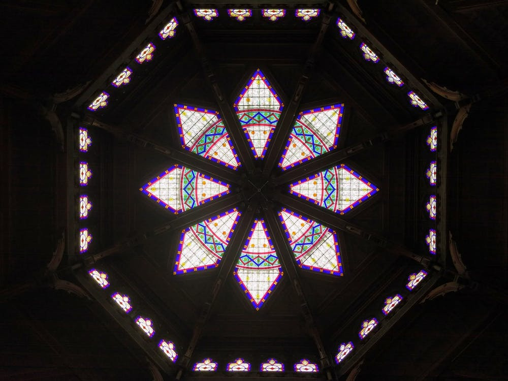 <h5>The stained glass windows in the ceiling of Chancellor Green library.</h5> <h6>Mark Dodici / The Daily Princetonian</h6>