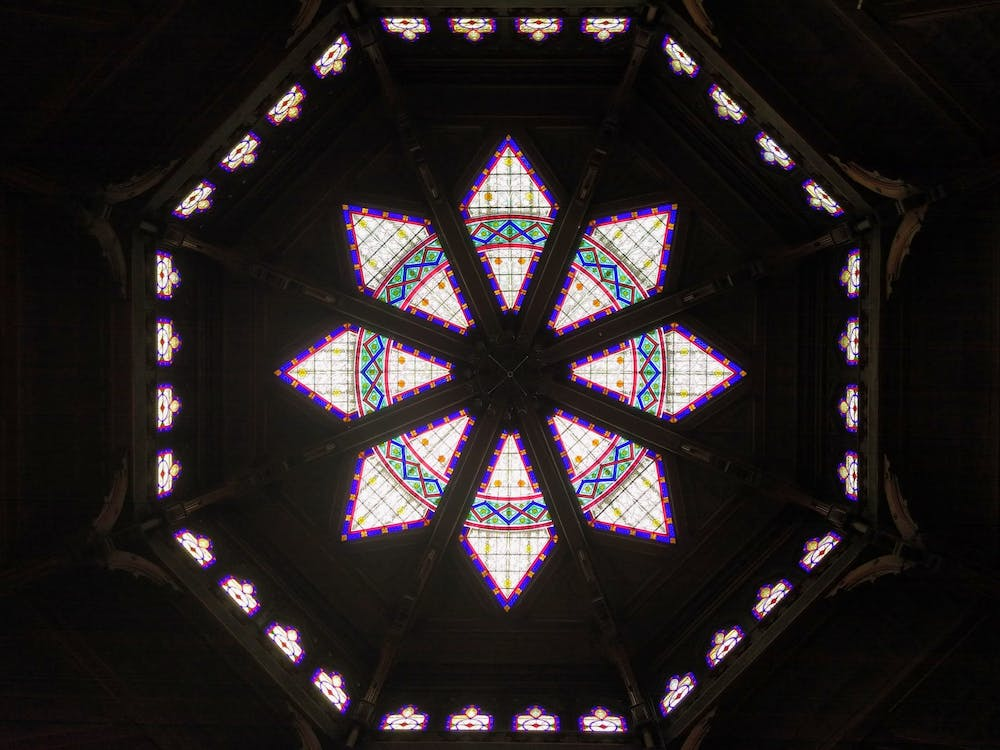 The stained glass windows in the ceiling of Chancellor Green library. Mark Dodici / The Daily Princetonian