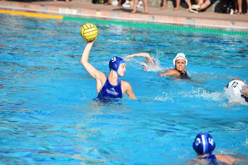 <h5>Kaila Carroll during a water polo game.</h5> <p><br></p> <h6>Courtesy of Kaila Carroll</h6>