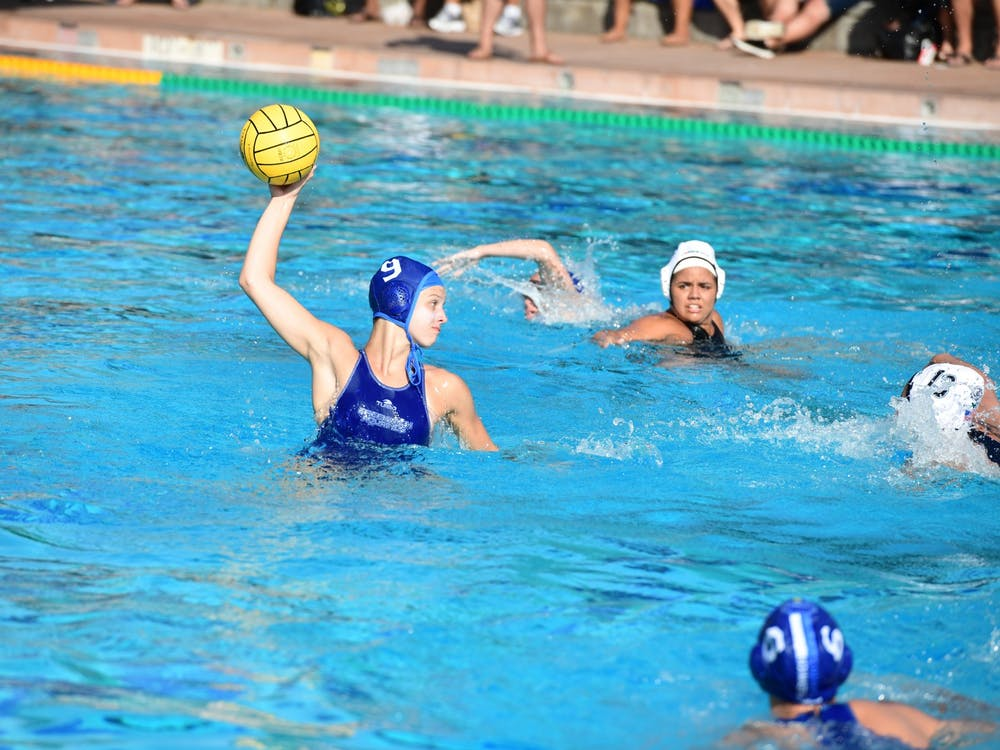 Kaila Carroll during a water polo game.  Courtesy of Kaila Carroll