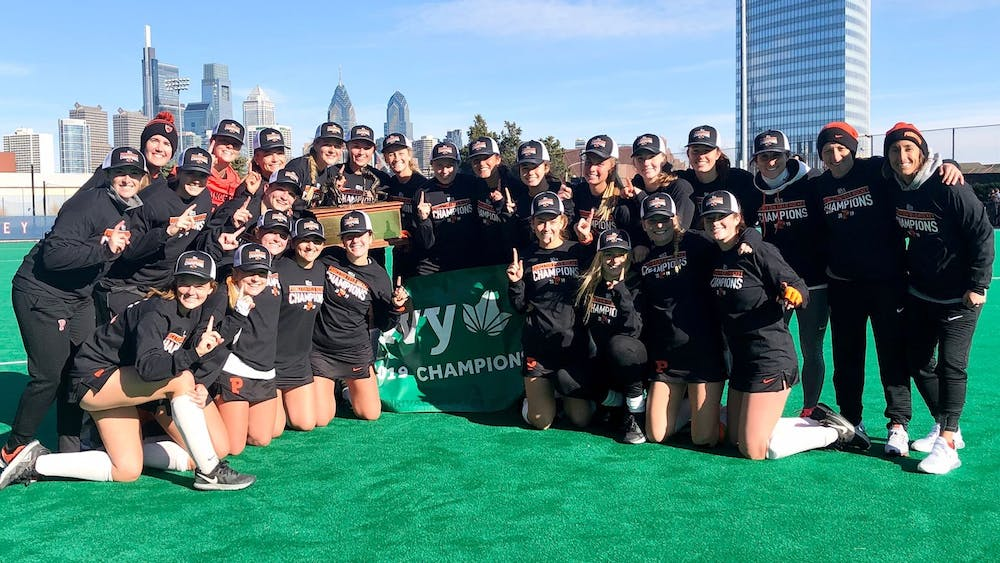 Princeton field hockey celebrates after winning the Ivy title. Photo Credit: GoPrincetonTigers.com