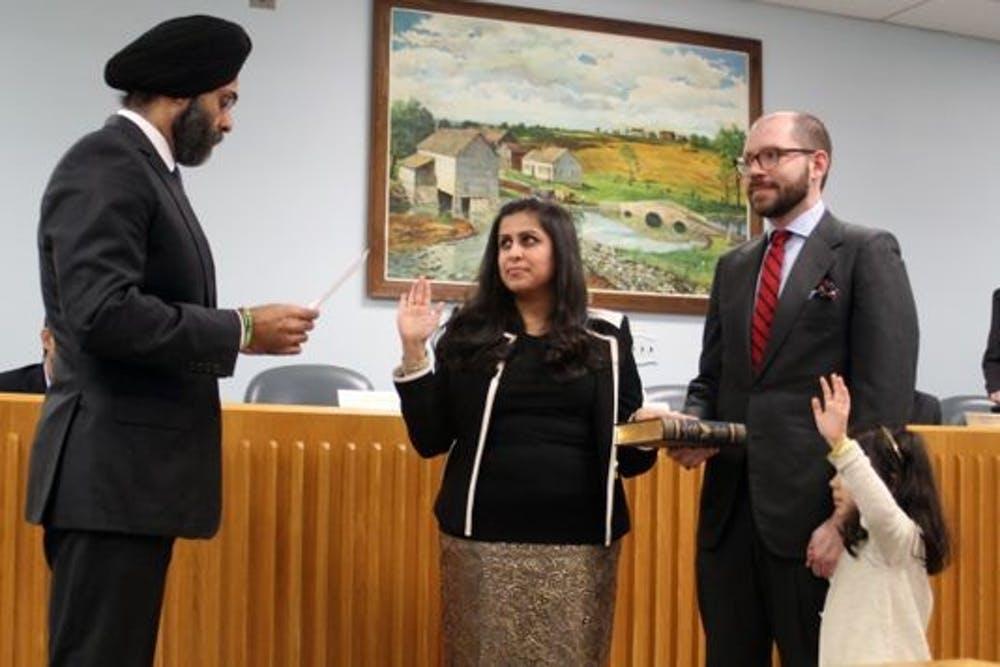 <p>Sadaf Jaffar swears in as NJ's first female South Asian mayor. Courtesy of Montgomery Township.</p>