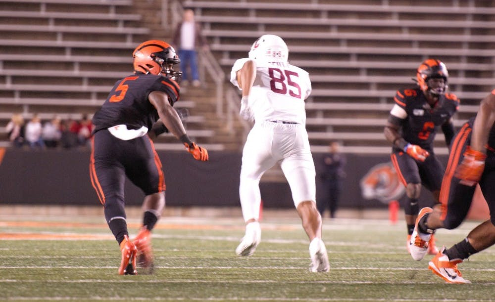 <p>Jeremiah Tyler and the Princeton defense will face Brown this weekend.</p> <h6>Photo Credit: Jack Graham / The Daily Princetonian</h6>