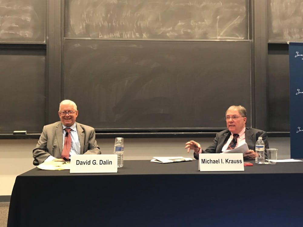 Dalin, left and Krauss discuss the history of Jewish justices.
