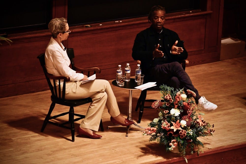 <p><em>Michele Minter and Walter Hood, on stage.</em></p> <h6><em>Photo Credit: Jon Ort / The Daily Princetonian</em></h6>