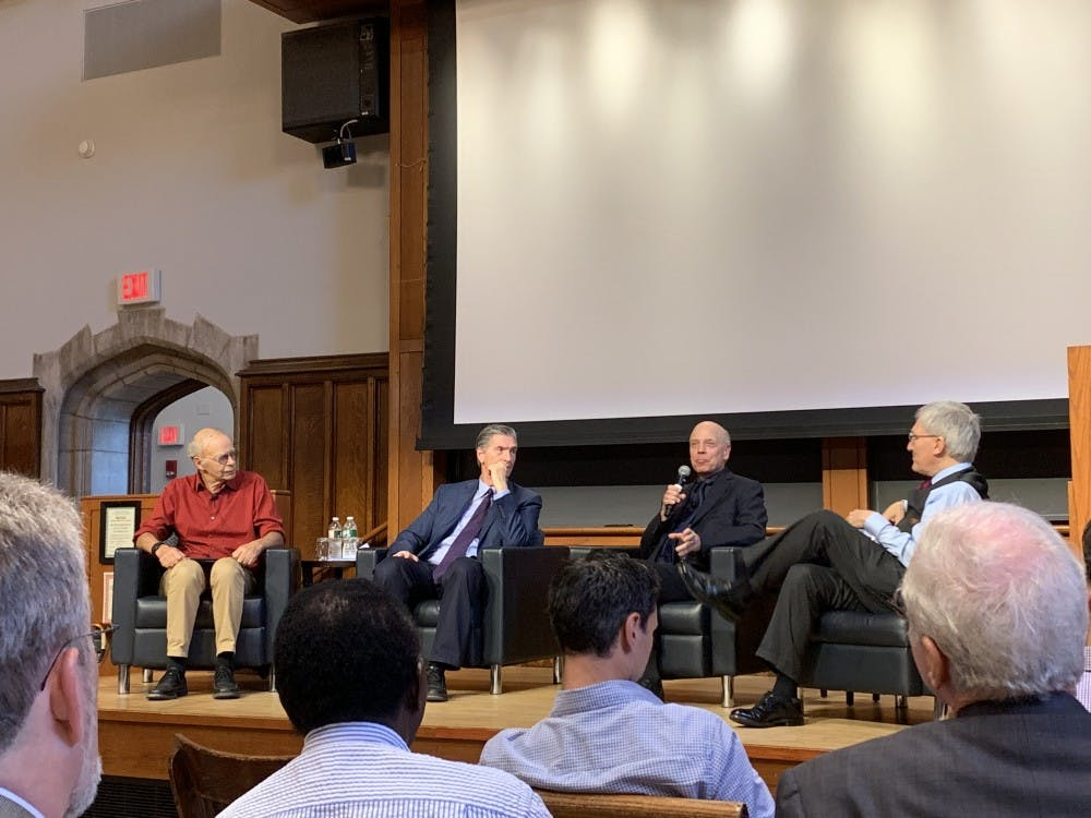 <p>From left to right: Peter Singer, Patrick Lee, D. Alan Shewmon, and Robert George.</p> <h6>Photo Credit: Caitlin Limestahl / The Daily Princetonian&nbsp;</h6>