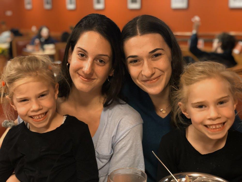 <p>The Daily Princetonian's Josephine de La Bruyère and Rachel Sturley with Rosemarie Luijendijk (left) and Annabel Luijendijk (right).&nbsp;</p> <h6>Photo Credit: AnneMarie Luijendijk</h6>