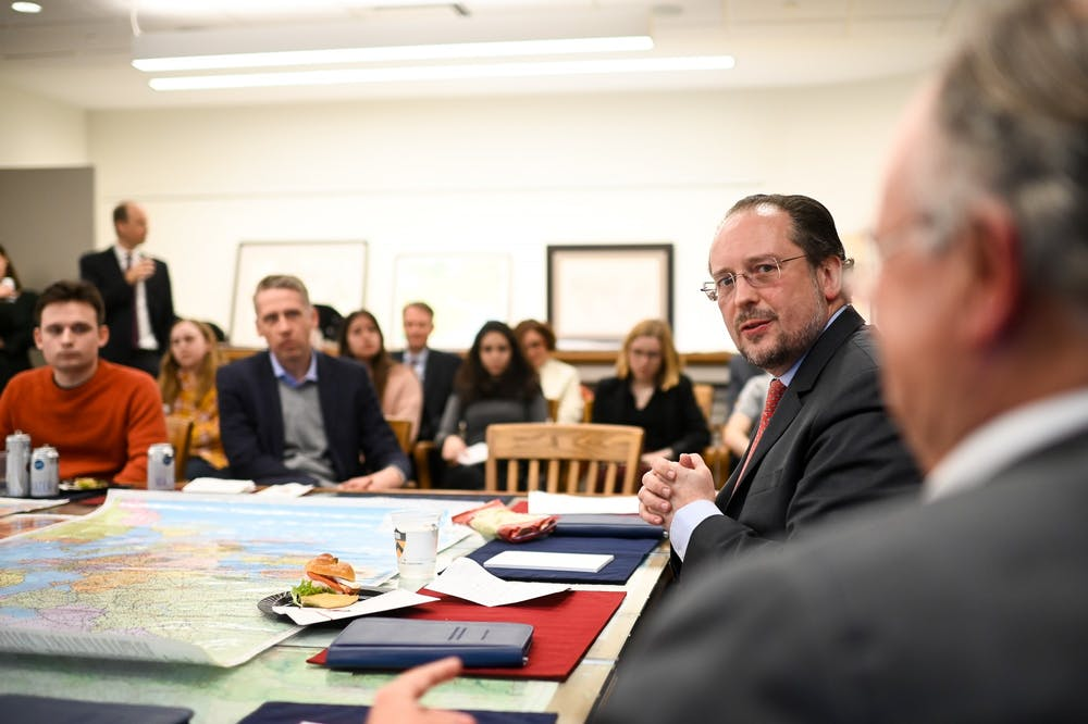 <p>Austrian Foreign Minister Alexander Schallenberg speaks before gathered students and faculty.</p> <h6>Photo Credit: Michael Gruber / BMEIA</h6>