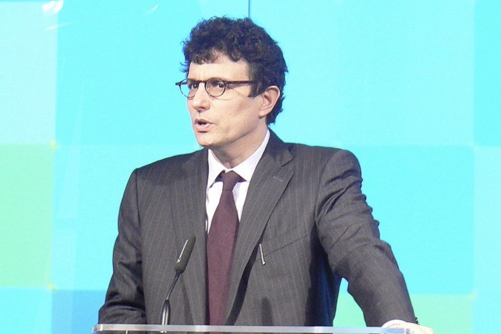 """<h5>David Remnick '81 speaks at The New Yorker Conference in 2008.</h5> <h6>Martin Schneider / <a href=""""https://commons.wikimedia.org/wiki/File:David_Remnick_in_2008.jpg"""" target=""""_self"""">Wikimedia Commons</a></h6>"""