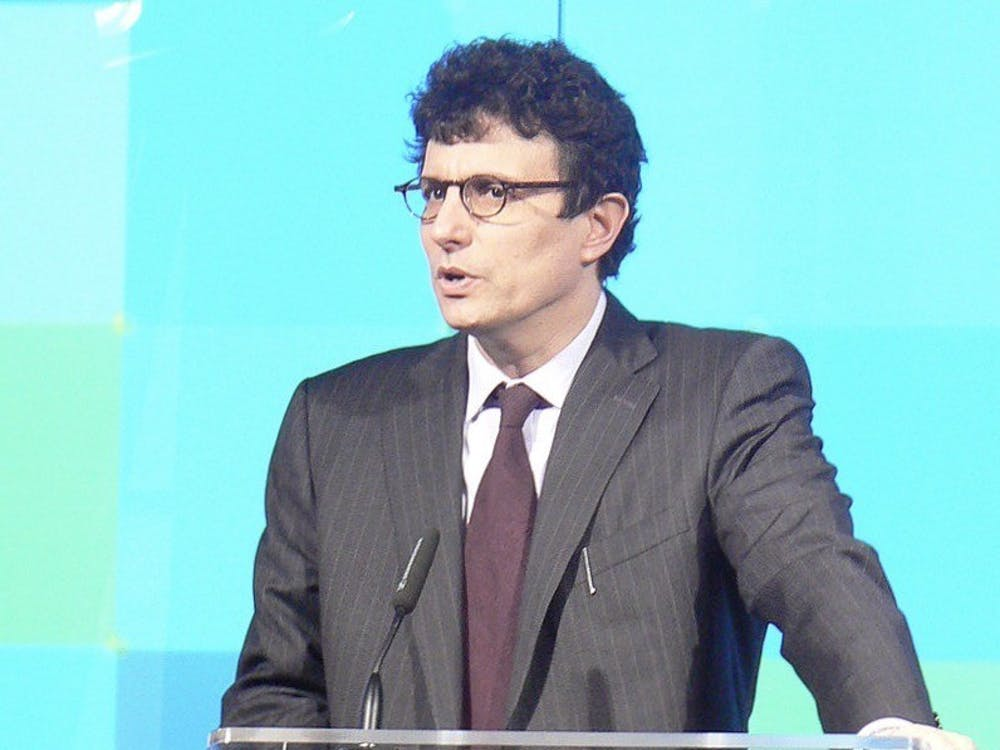 David Remnick '81 speaks at The New Yorker Conference in 2008. Martin Schneider / Wikimedia Commons