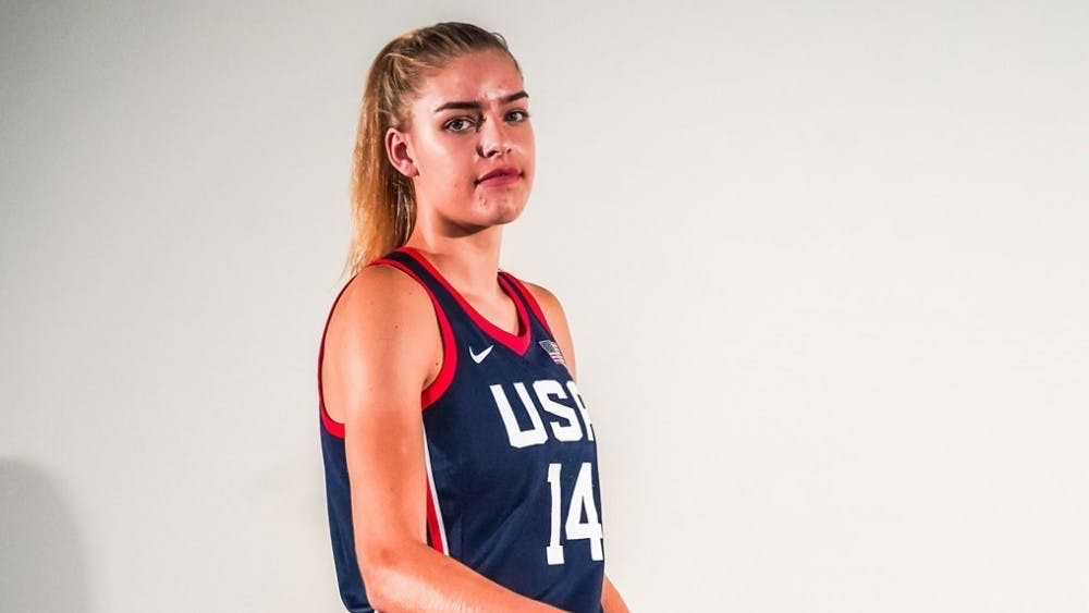 <p>Bella Alarie in her Team USA uniform.</p> <h6>Photo courtesy of GoPrincetonTigers.com</h6>