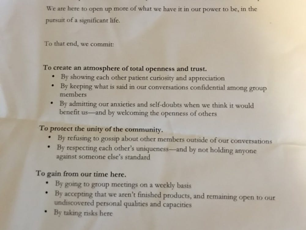 Workshop No. 1 membership pledge, written by Alec Gewirtz '19, reflects group values and goals.