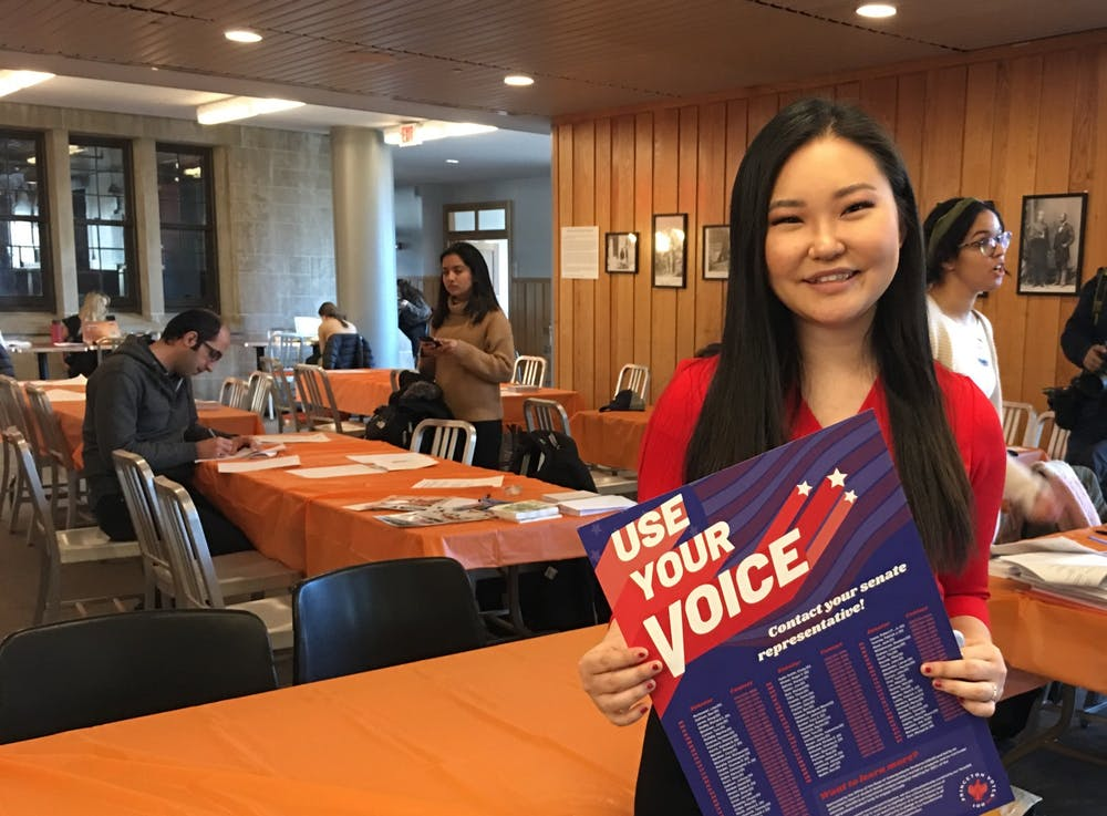 <p>Sarah Lee '22 encouraged students to stop by and contact their representatives / Courtesy of Karolen Eid</p>