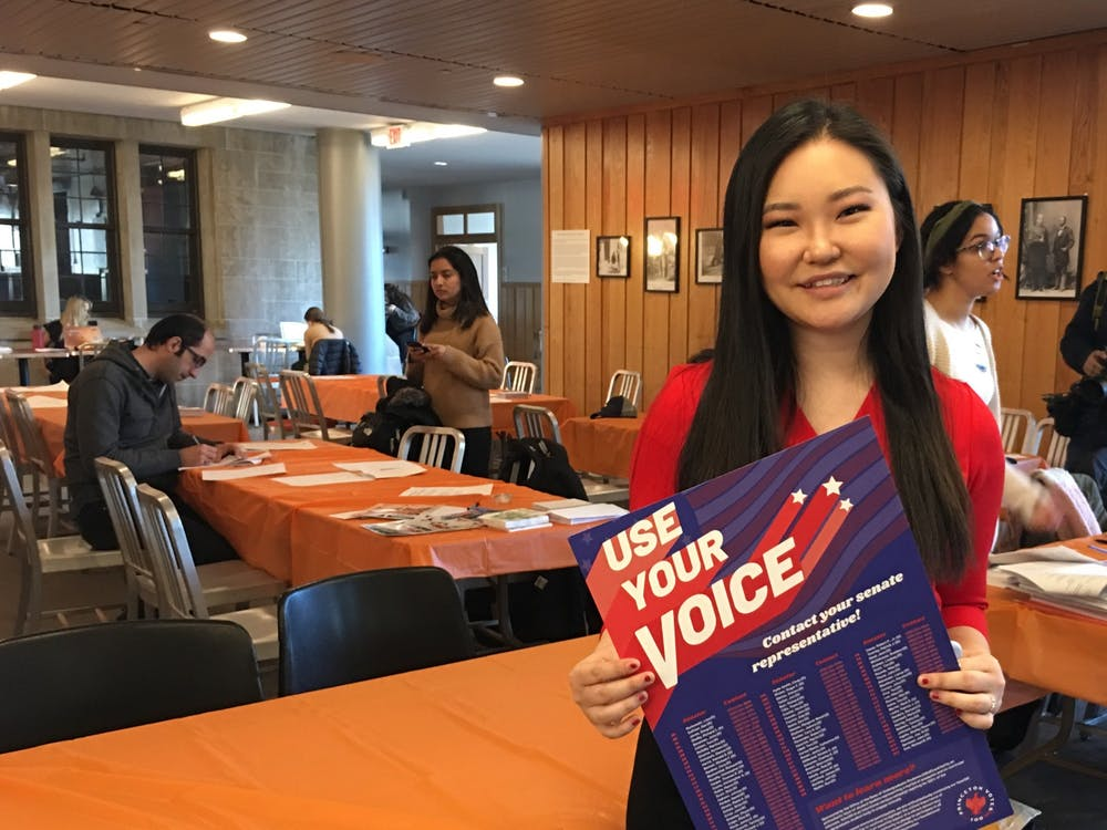 Sarah Lee '22 participated in the Vote100 campaign while still on campus, urging students to stop by and contact their representatives. Karolen Eid / The Daily Princetonian