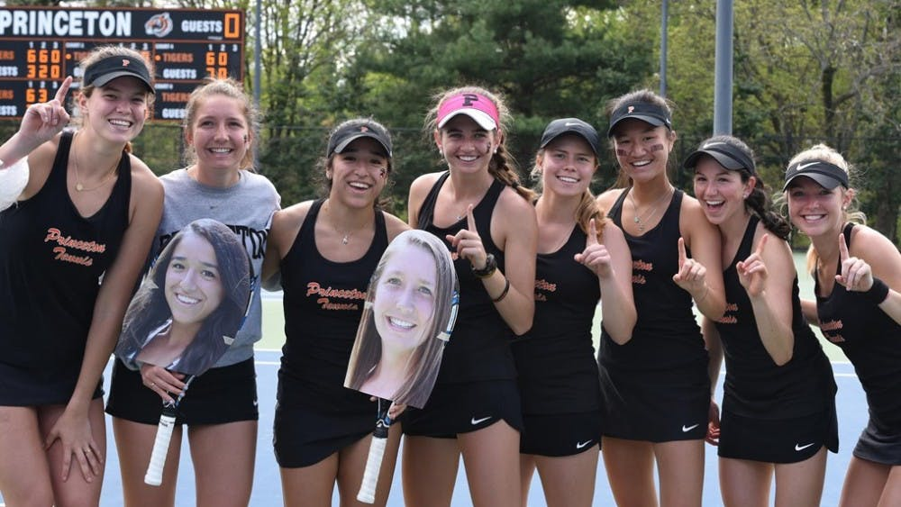 <p>Women's tennis, pictured in April 2019, claimed its fifth Ivy League title in six years with victories over Brown and Yale last month.</p> <p>Photo Credit: GoPrincetonTigers</p>
