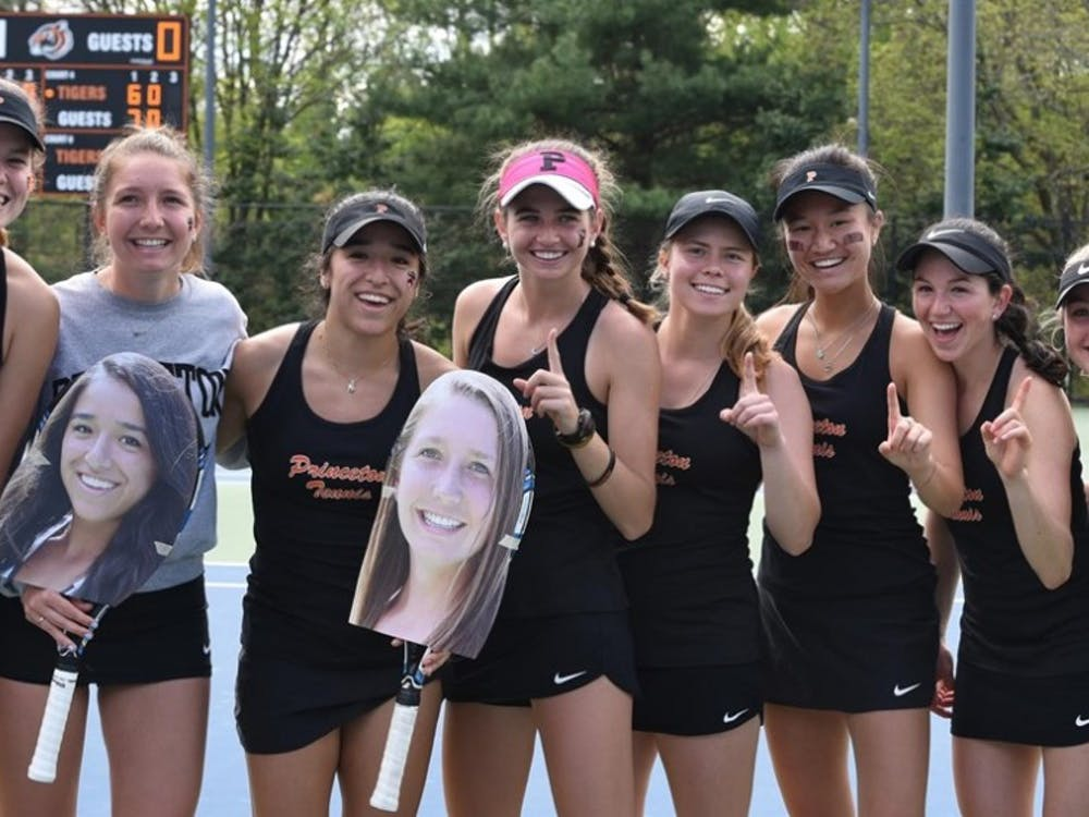 Women's tennis, pictured in April 2019, claimed its fifth Ivy League title in six years with victories over Brown and Yale last month. Photo Credit: GoPrincetonTigers