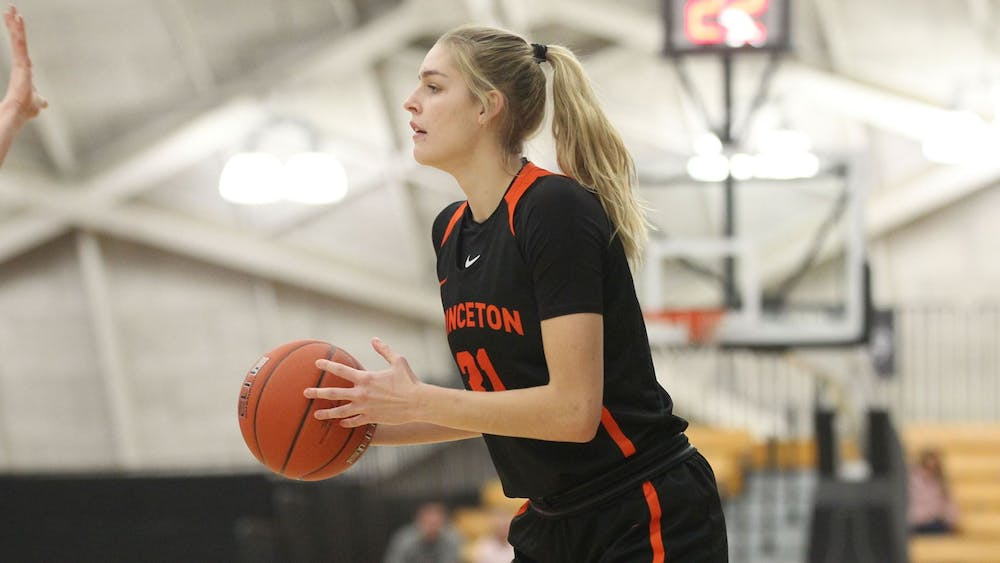 Credit: Beverly Schaefer / goprincetontigers.com Caption: Bella Alarie prepared for play in Saturday's game against Dartmouth.
