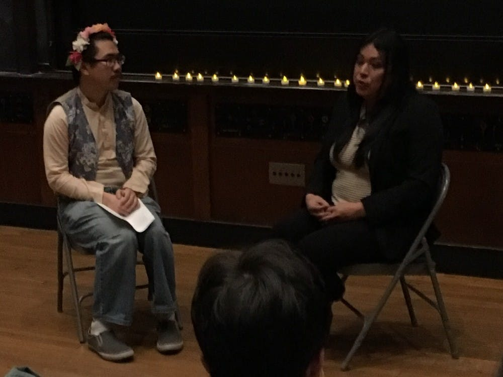 Jennicet Gutierrez, right, participates in a Q&A moderated by Stephen Chao '19.