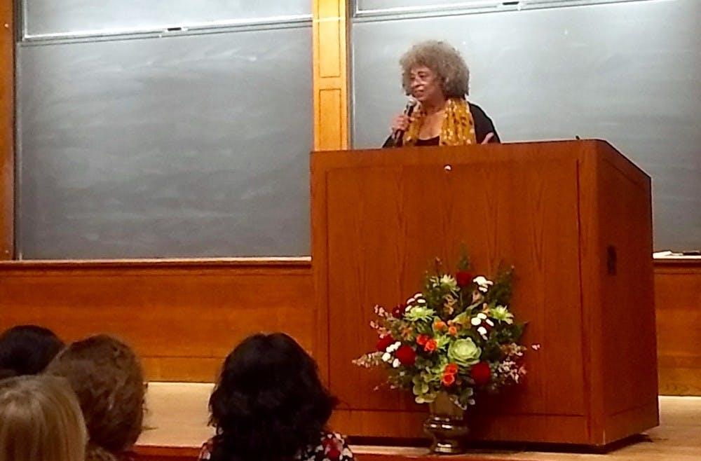 Dr. Angela Davis speaking in McCosh 50 on Thursday, Dec. 13. Photo courtesy of Ben Gelman '22.