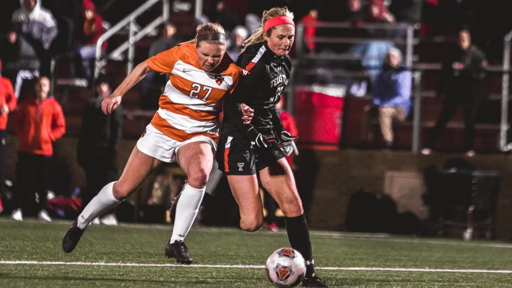 Lucy Rickerson fights for the ball in Princeton's Friday loss to Texas Tech