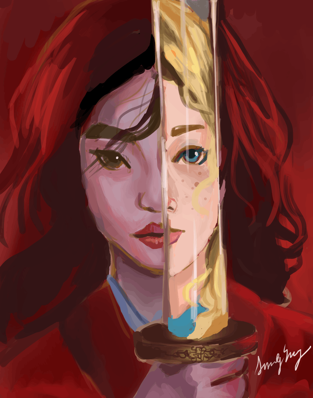 """<p>A reimagining of the poster for the 2020 remake of """"Mulan,"""" in which the reflection on Mulan's sword is of a white woman instead of her soldier form.</p> <p>Sandy Yang / The Daily Princetonian</p>"""