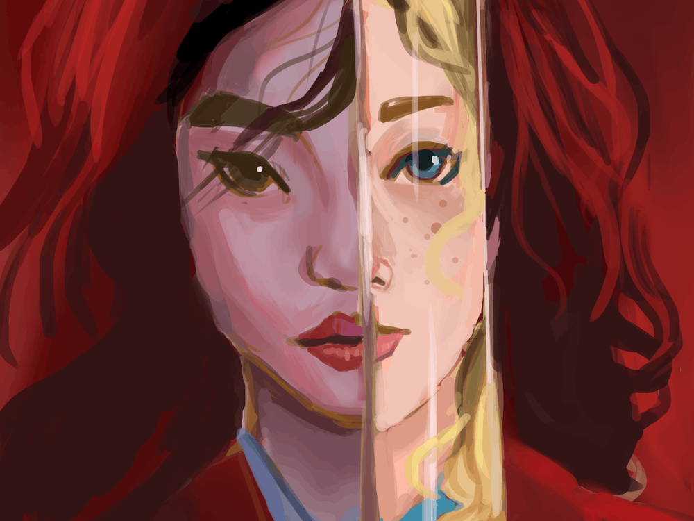 "A reimagining of the poster for the 2020 remake of ""Mulan,"" in which the reflection on Mulan's sword is of a white woman instead of her soldier form. Sandy Yang / The Daily Princetonian"