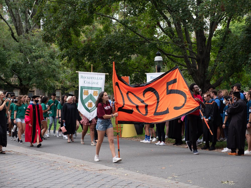 Class of 2025 students walk at the Pre-Rade. Candace Do / The Daily Princetonian
